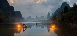 3-Живописный вид на реку Ли и рыбаков